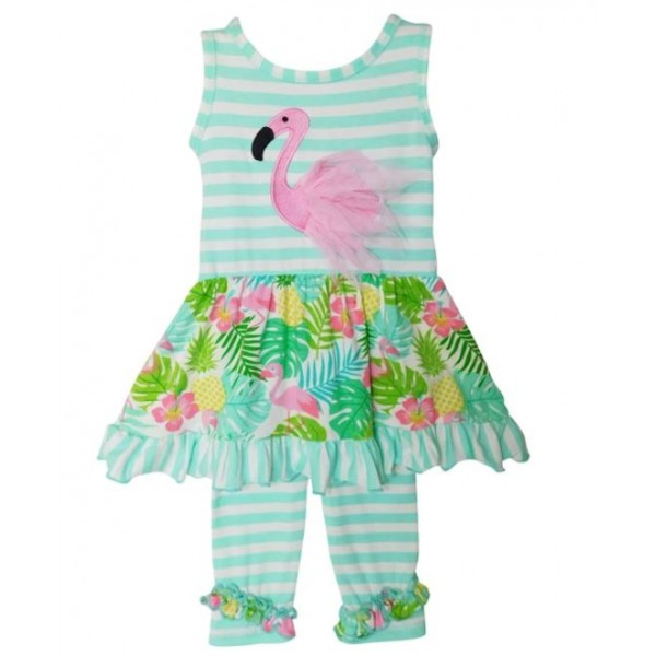 Pink Flamingo Palm Dress Capri Set