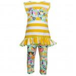 Yellow Butterfly Stripe Legging Set