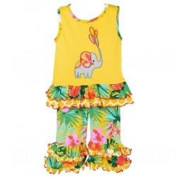 Girls Yellow Elephant Tunic Capri Outfit