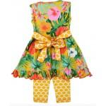 Hawaiian Yellow Tropical Dress Capri Set