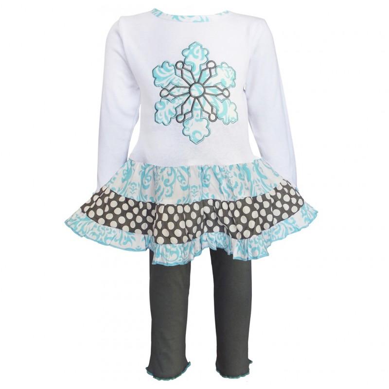 5703f1667 Girls Blue Snowflake Dress & Legging Set