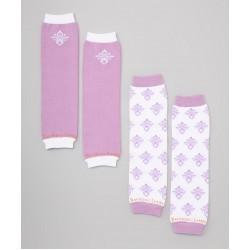 Pink & White Damask Organic baby Leg Warmers Set