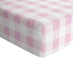 Crib Sheets Pink Plaid 100% Cotton