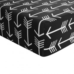 Crib Sheets Black and White Arrow 100% Cotton