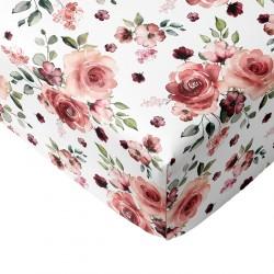 Crib Sheets Rose Floral 100% Cotton