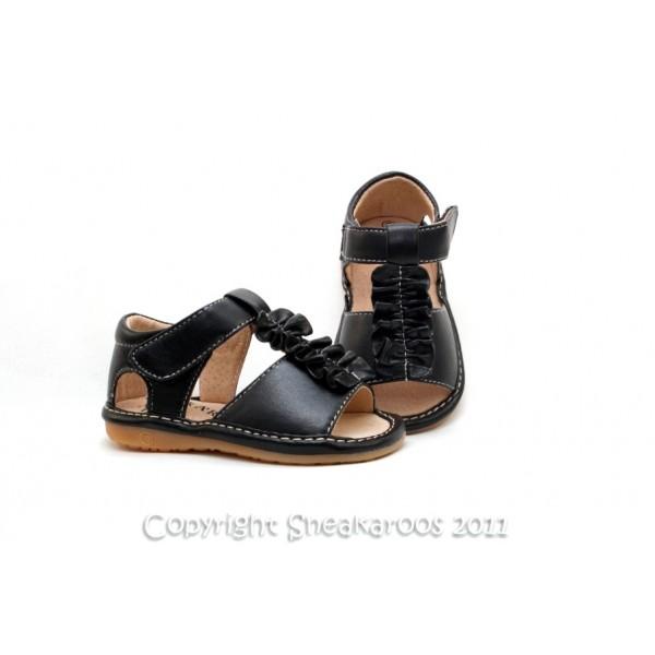 Girl's Black Ruffled Sandal