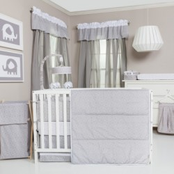 Circles Gray and White 3 Piece Crib Bedding Set