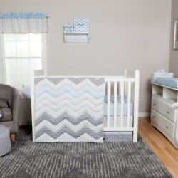 Blue Taffy Chevron 3 Piece Crib Bedding Set