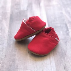 Red Solid Moccasins
