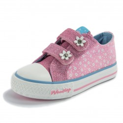 Flowers Glitter Strap Sneakers Pink