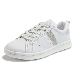 Glitter Stripe Street Style Sneaker White
