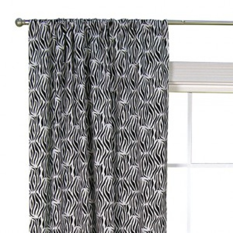 black and white zebra window drape