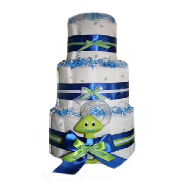 Organic 3 Tier Blue Extravaganza Diaper Cake