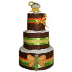 3 Tier Dragon Fly Organic Diaper Cake