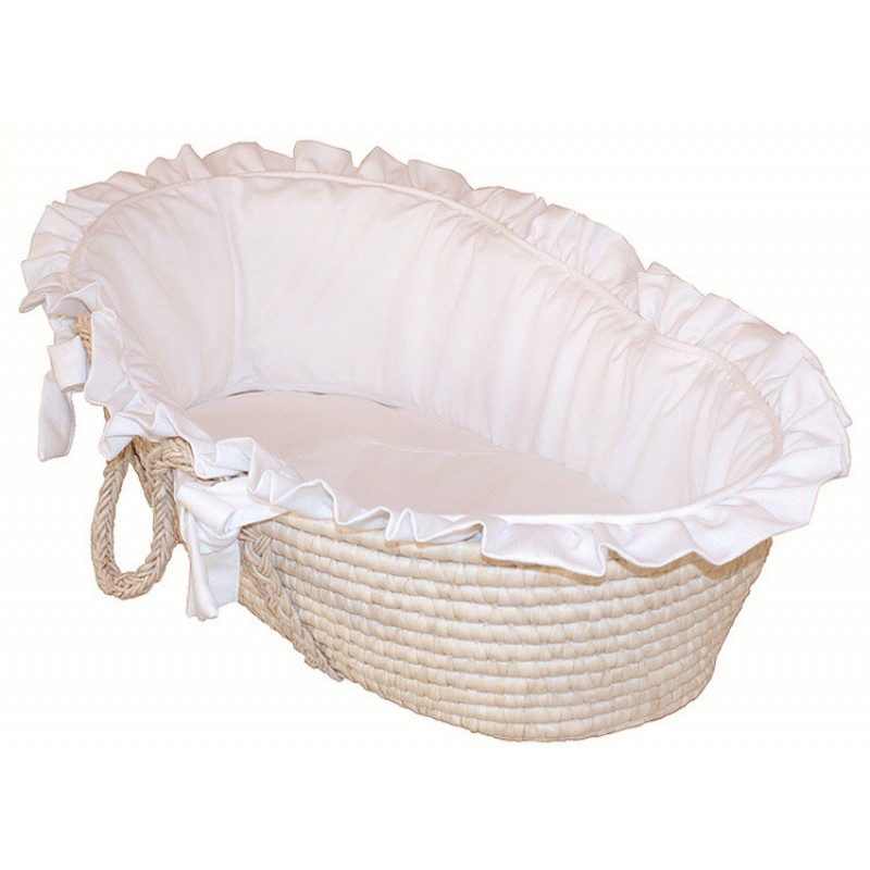 Hoohobbers White Pique Moses Basket