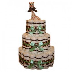 Organic 3 Tier Green Polka Dot Diaper Cake