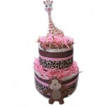 Organic 2 Tier Pink Sophie Giraffe Diaper Cake