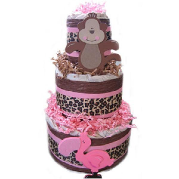 Organic 3 Tier Pink Safari Diaper Cake