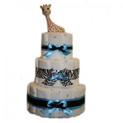 3 Tier Organic Zebra Print Diaper Cake