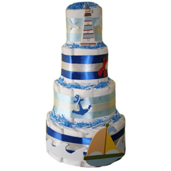 Organic 4 Tier Nautical Diaper Cake